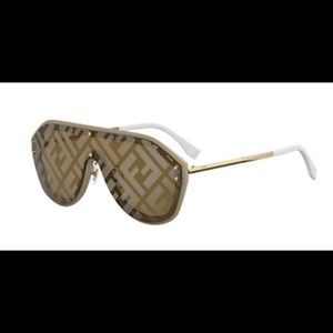 Fendi FF Shield sunglasses beige / gold